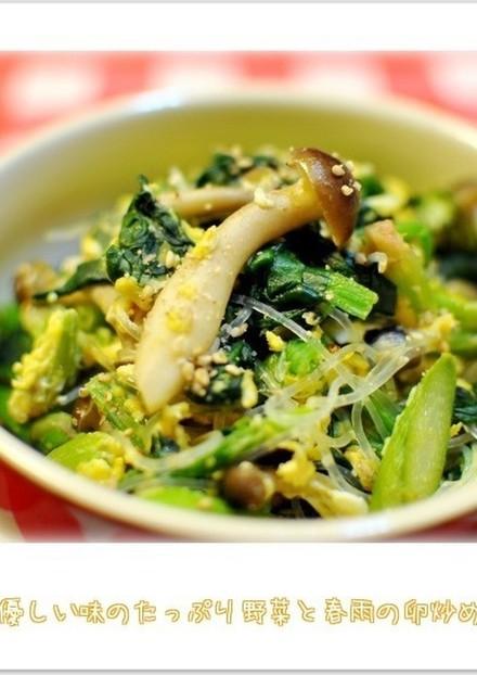 優しい味のたっぷり野菜と春雨の卵炒め