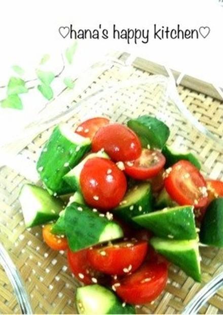昆布茶でノンオイル トマト胡瓜サラダ