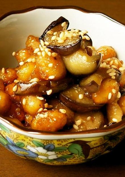 水煮大豆と茄子の簡単常備菜