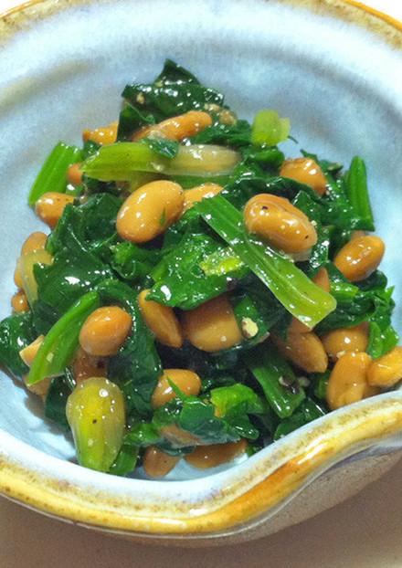 +1品の簡単副菜 納豆のホウレン草和え