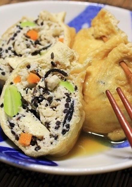 豆腐と挽肉で油揚げの五目巾着煮