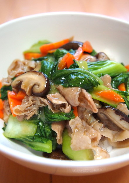 ランチ 豚コマチンゲン菜 簡単中華丼
