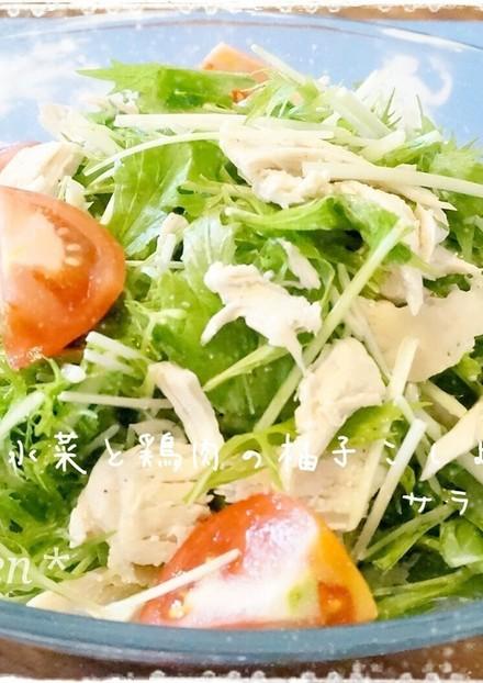 水菜と鶏肉の柚子こしょうサラダ