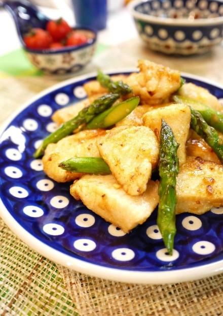 鶏むね肉とアスパラの甘辛炒め