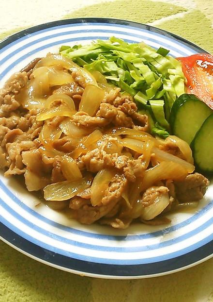 薄切り肉で作る✿めんつゆ生姜焼き✿