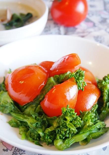 早く春来い トマトと菜の花ナンプラー炒め