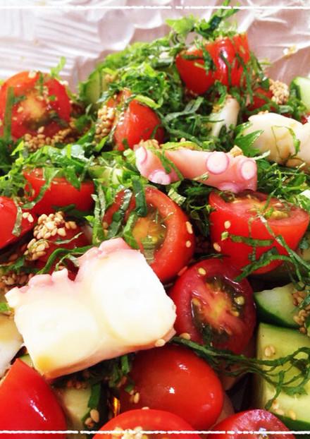 たこトマトきゅうりの青じそ風味サラダ♪
