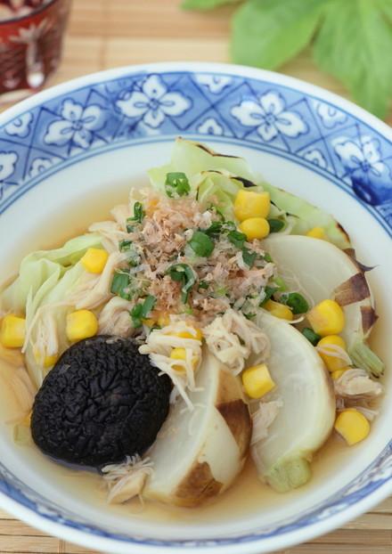 焼き野菜と貝柱の煮浸し