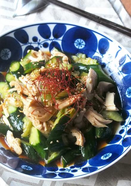 簡単✿ささみとたたき胡瓜の中華風ごま和え
