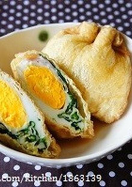 朝食にも◎ほうれん草&ベーコンエッグ巾着