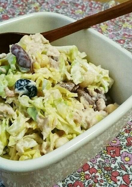 簡単おいしい キャベツと豆のデリ風サラダ