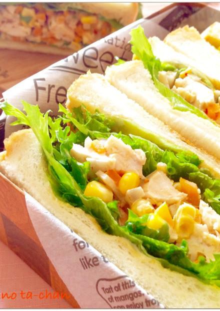 ピリ辛 ごぼうサラダのサンドイッチ