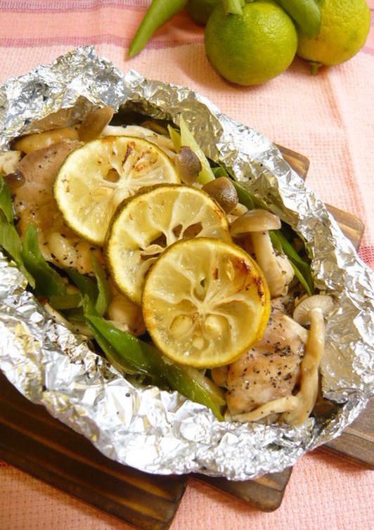 鶏肉のゆず風味 簡単 酒蒸し風ホイル焼き