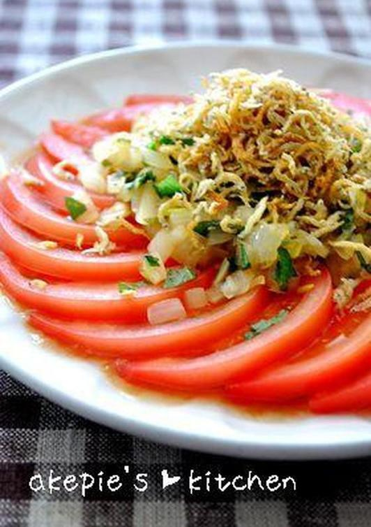 トマトのカリカリじゃこサラダ