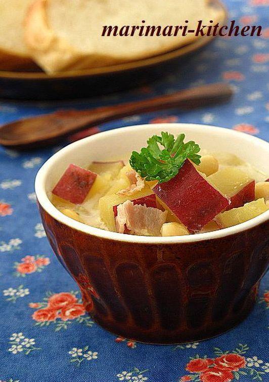 さつまいもと大豆のミルクスープ