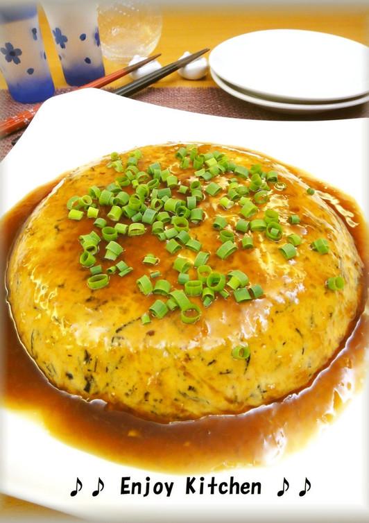 豆腐とひじきのレンジ蒸し 生姜甘酢あん