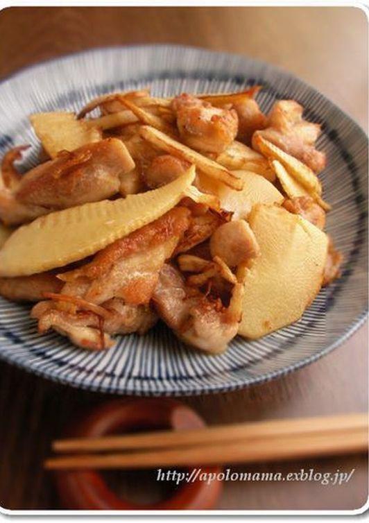 シンプルが美味しい 筍と鶏もも肉の塩炒め