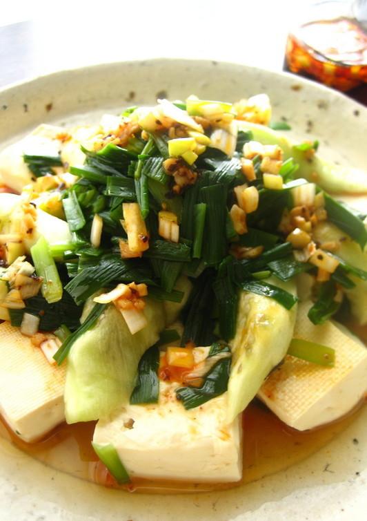 レンジでニラたっぷり茄子と豆腐 香味ダレ