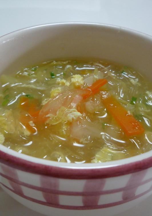 簡単 野菜たっぷり春雨スープ