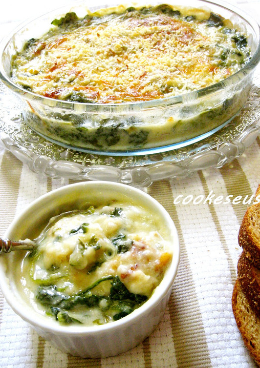 牡蠣とほうれん草の豆乳グラタン