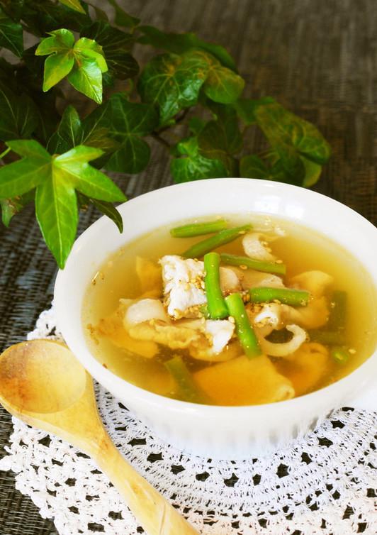 豚肉といんげんの和風ごまスープ