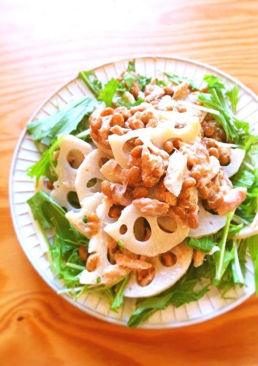 レンコンとツナと納豆のサラダ