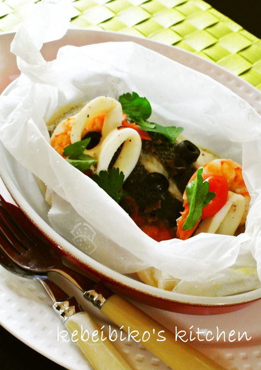 アクアパッツア風パピヨット(包み焼き)