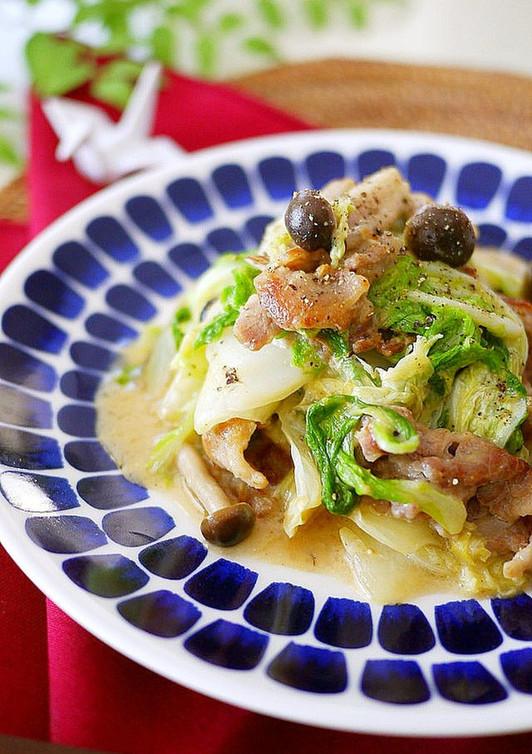 白菜と豚肉の味噌マヨ炒め