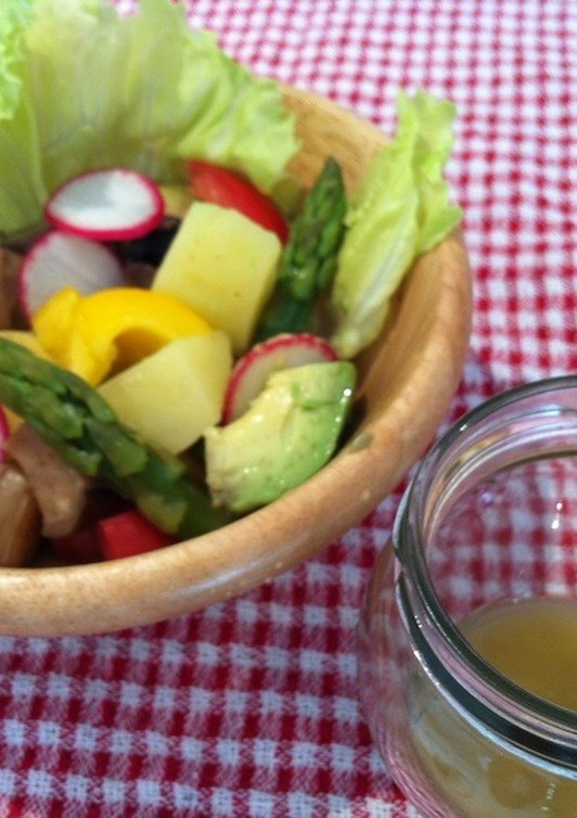 温野菜サラダに アンチョビドレッシング