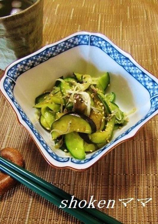 胡瓜とナスとミョウガのおつまみサラダ