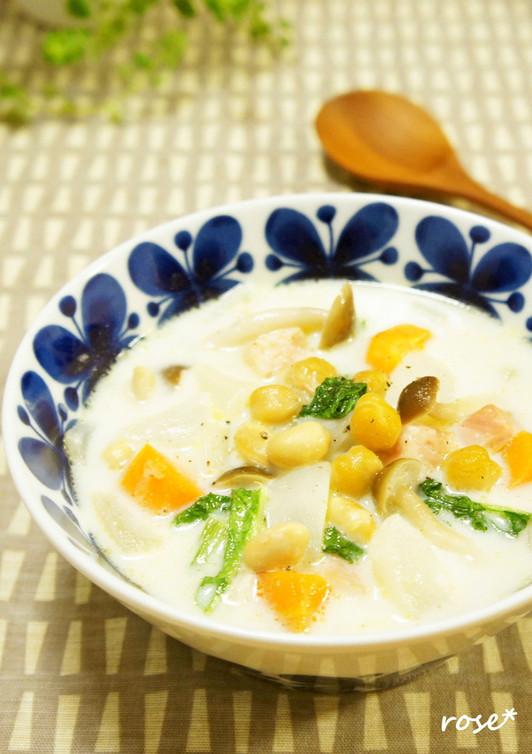 かぶとお豆の味噌ミルクスープ