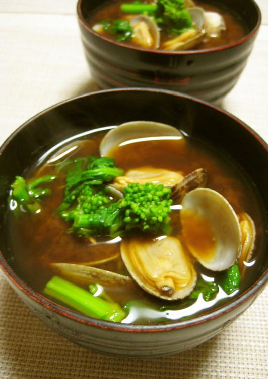 アサリと菜の花のお味噌汁