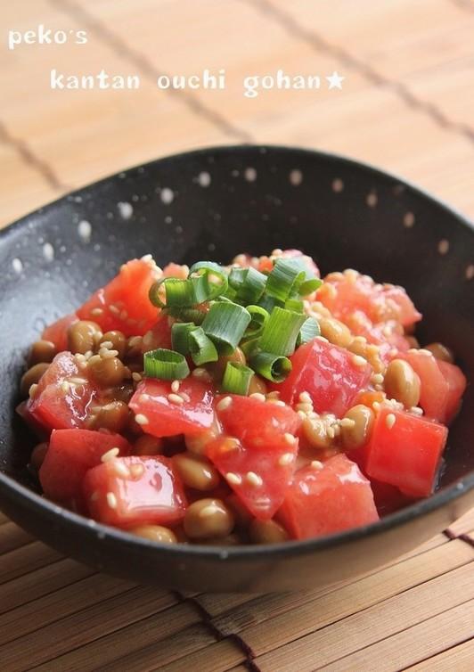 簡単旨ウマ ポン酢でオリーブトマト納豆