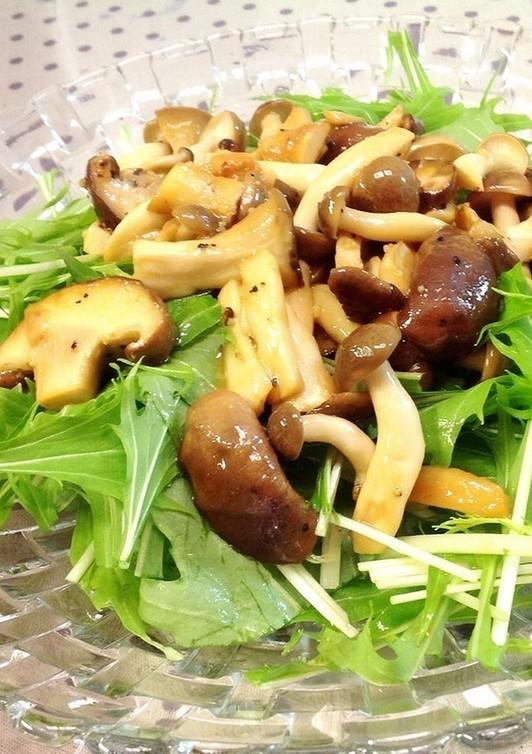 水菜の簡単きのこドレッシングサラダ