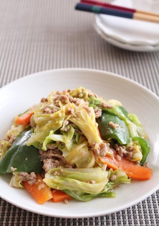 中華風肉味噌そぼろあんの野菜炒め