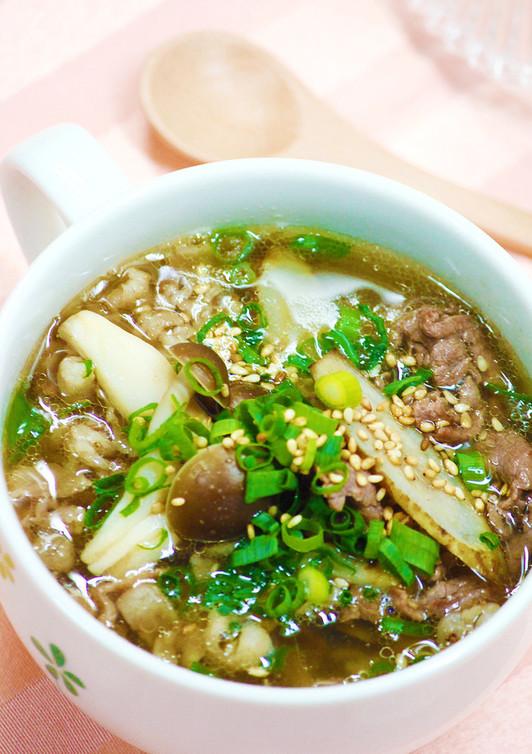 牛ごぼうの食べるスープ