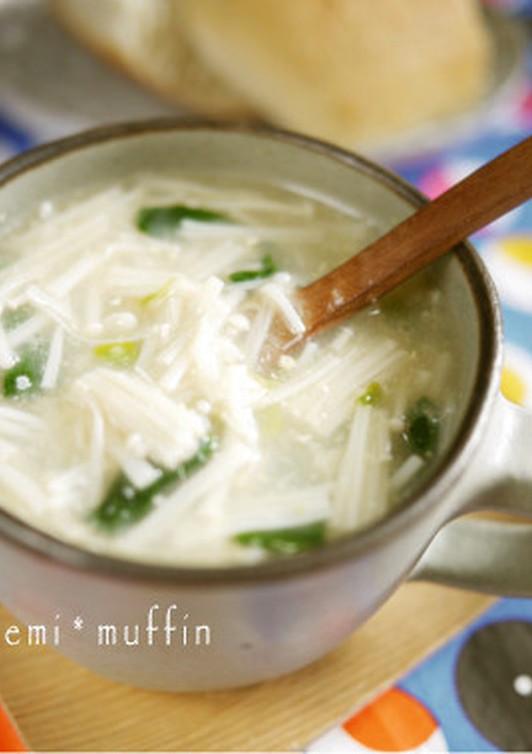 えのき茸の味噌ジンジャースープ