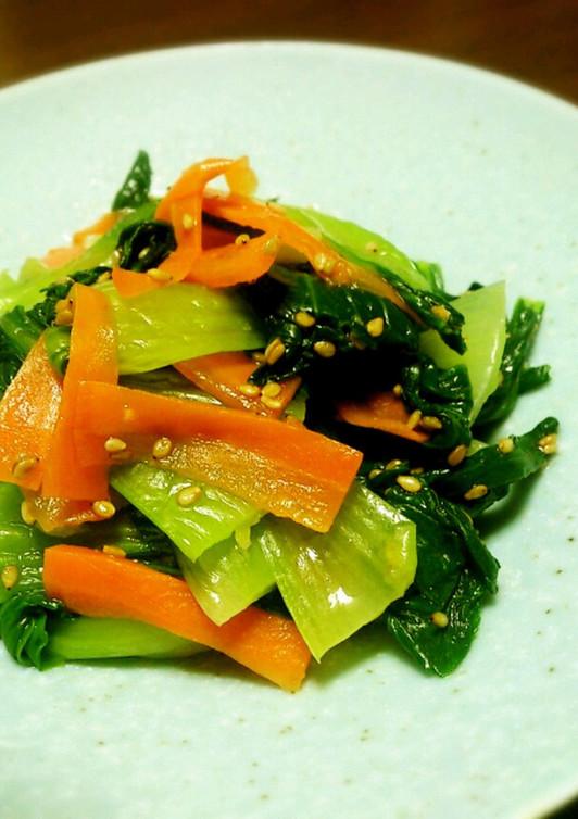 調味料3つ チンゲン菜と人参のナムル