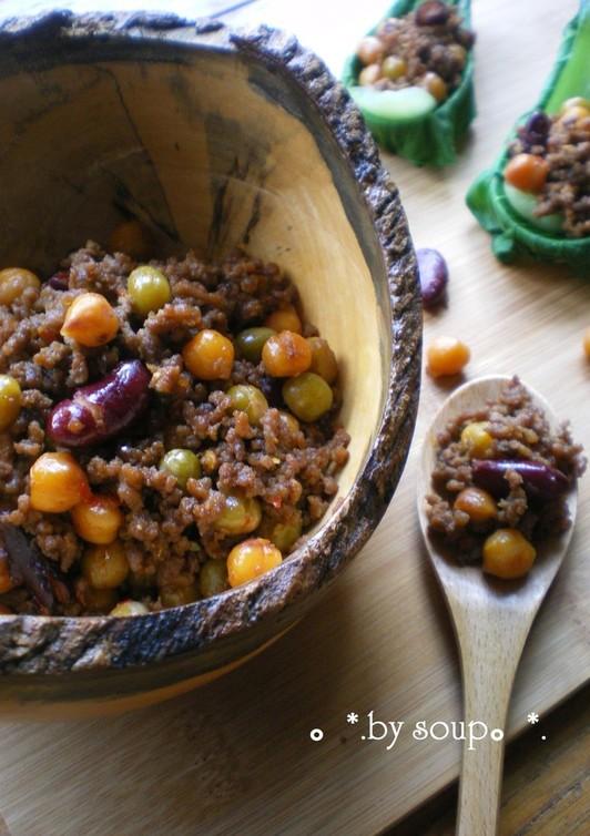 豆と挽肉の豆板醤炒め