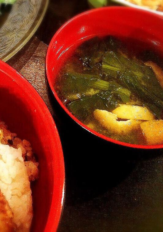 ほうれん草 油揚げ豆腐の味噌汁