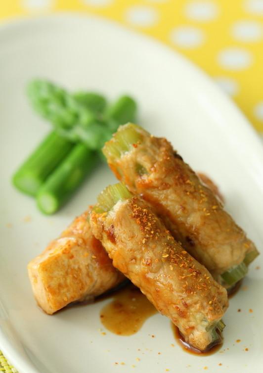 ふき&豆腐の肉巻き棒