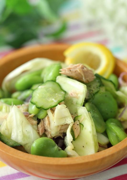 空豆のレモンドレッシングサラダ