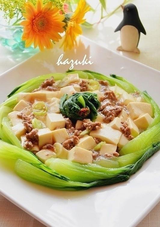 ひき肉と豆腐のうま煮 青梗菜リース