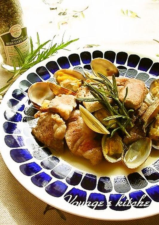 あさりと豚のワイン蒸し ローズマリー風味
