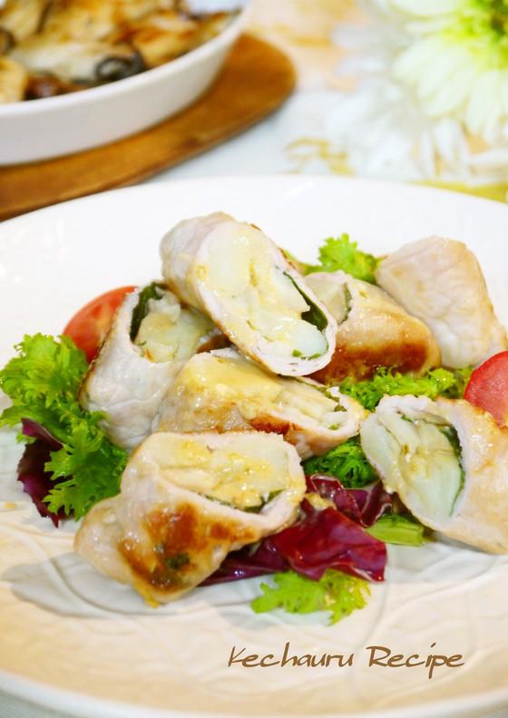 豚肉のエリンギポテト巻き 柚子胡椒ダレ