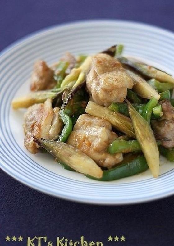 鶏肉とミョウガの味噌炒め