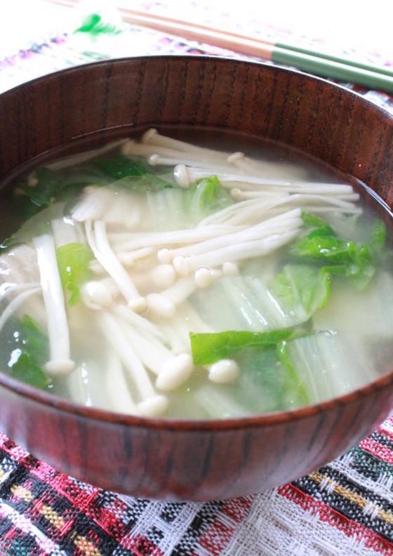 白菜とえのきの味噌汁