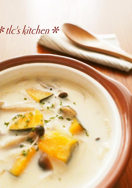 かぼちゃとしめじの豆乳味噌スープ