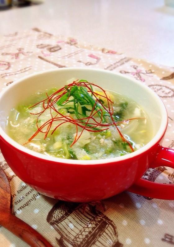 薬味たっぷり 簡単白菜みぞれスープ