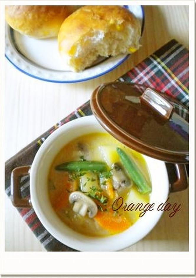 野菜たっぷり 温かいヨーグルトスープ